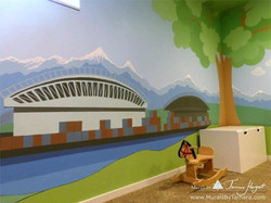 Cascade mountains - Tree in the corner - mural by Tamara Hergert - sports fields