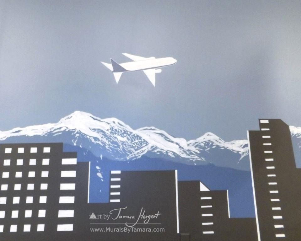 Bellevue - Seattle skyline - airplane - Bel-Red Auto license - mural by Tamara Hergert
