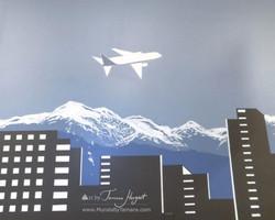 Bellevue - Seattle skyline - airplane - Bel-Red Auto license - mural by Tamara Hergert