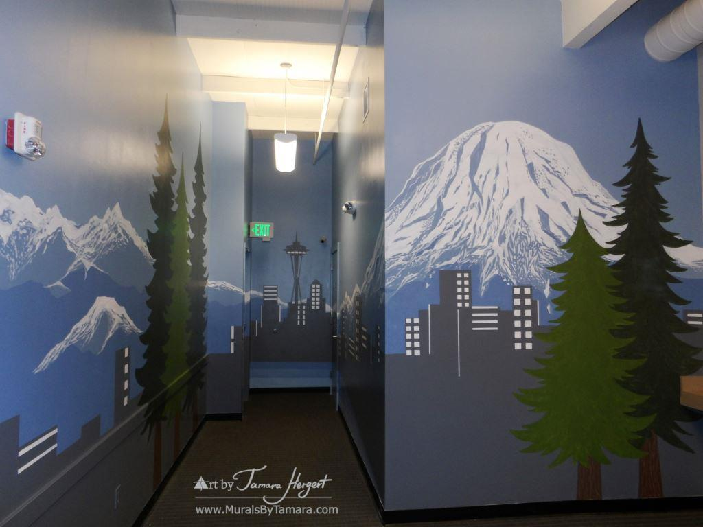 Seattle skyline - Mount Rainier 21 - Bel-Red Auto license - mural by Tamara Hergert
