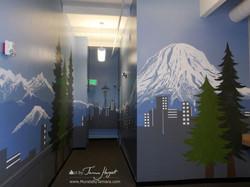 Seattle skyline - Mount Rainier 21 - Bel-Red Auto license - mural by Tamara Hergert