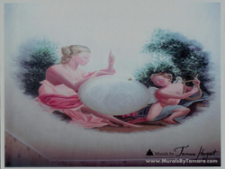 Ancient Goddess and angel mural by Tamara Hergert