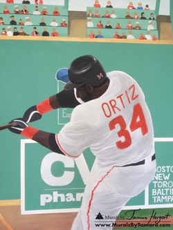 Fenway park Green monster wall with David Ortiz Red Sox detail - kids room mural by Tamara Hergert