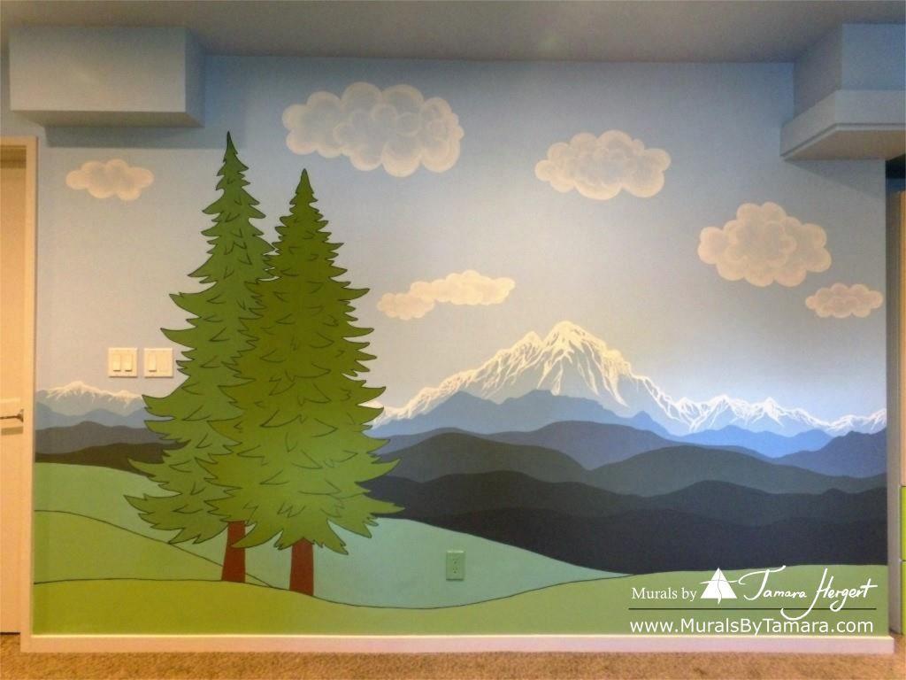 Cascade mountains - Tree in the corner - mural by Tamara Hergert - mountains view
