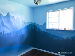 Mountains and lake wilderness mural by T