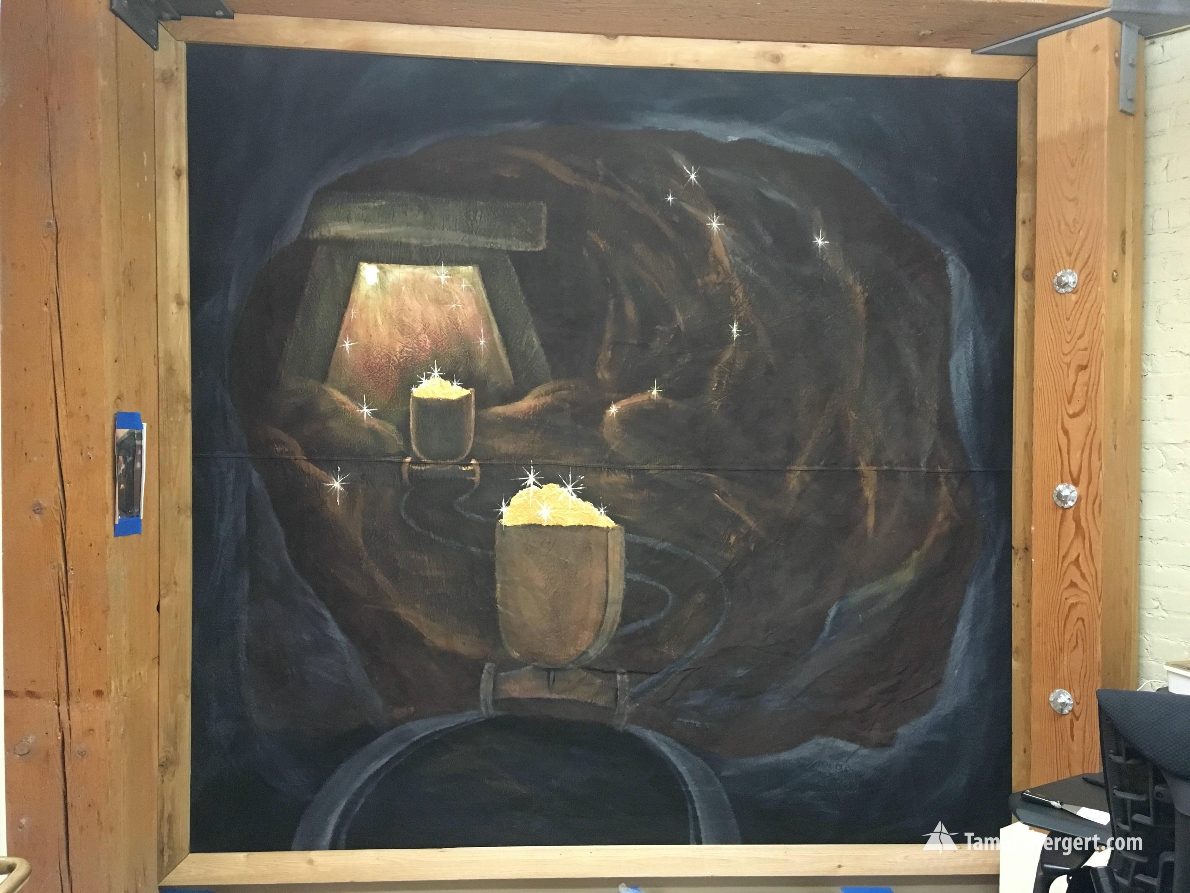 Mining portable canvas mural by Tamara H