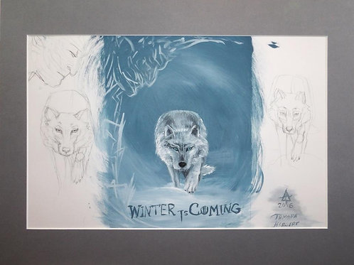 """Original sketch for """"Winter is coming"""" acrylic painting by Tamara Hergert"""