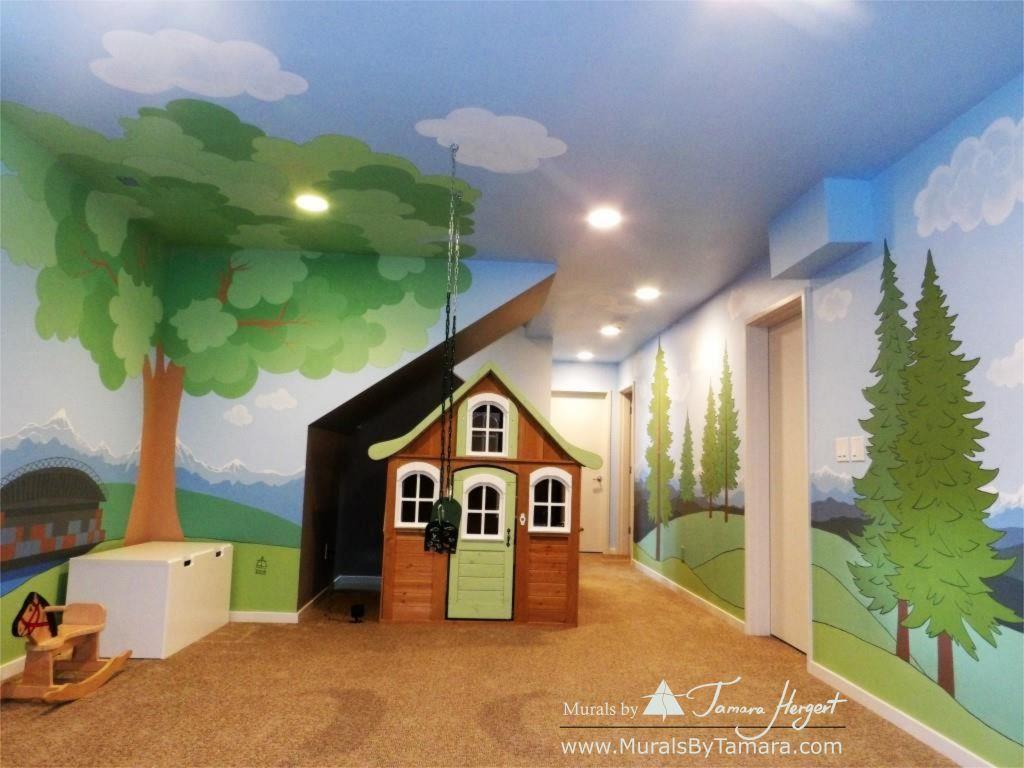 Cascade mountains - Tree in the corner - mural by Tamara Hergert