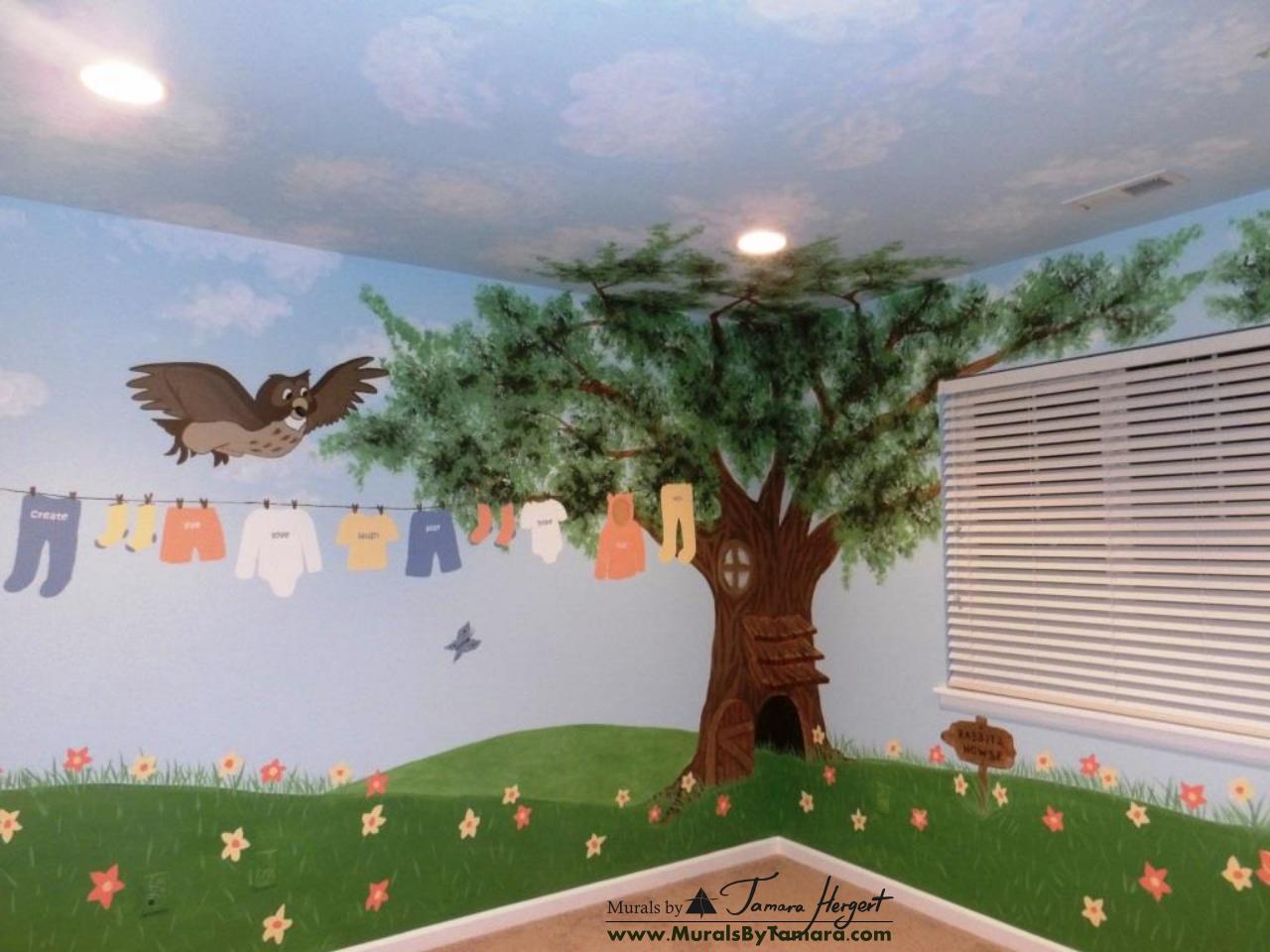Winnie the Pooh mural left corner - kids room mural by Tamara Hergert