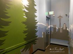 Seattle skyline - Mount Rainier 11 - Bel-Red Auto license - mural by Tamara Hergert