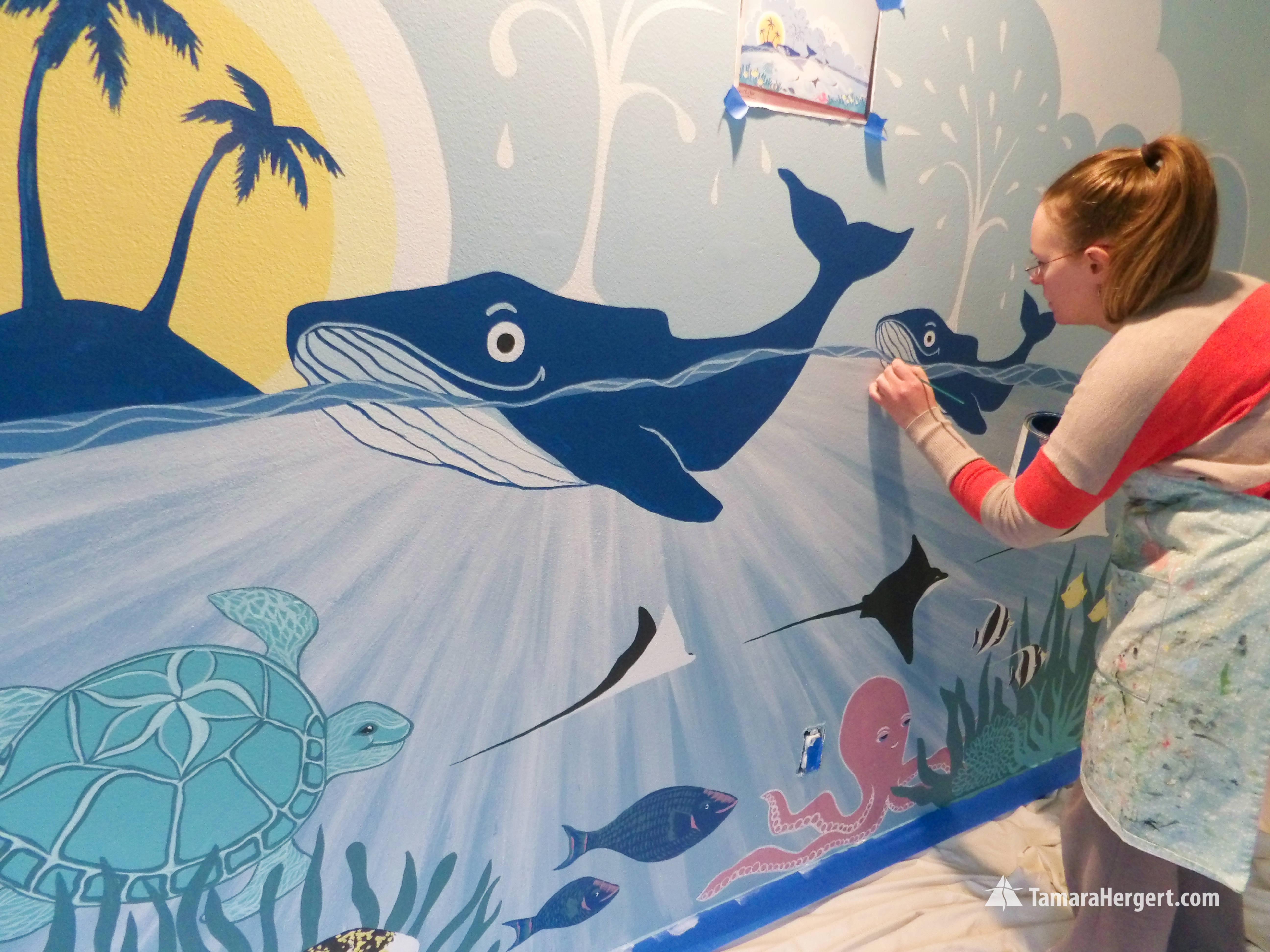 Sealife mural by Tamara Hergert
