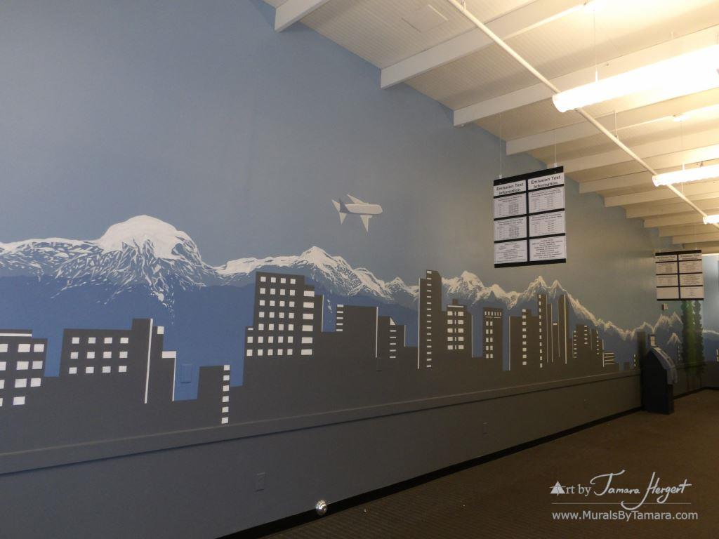 Bellevue - Seattle skyline 9 - Bel-Red Auto license - mural by Tamara Hergert