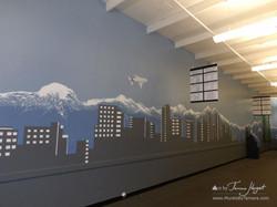 Bellevue - Seattle skyline 9 - Bel-Red Auto license - mural by Tamara Hergert