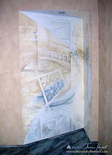 Romantic Venice Italy, Rialto bridge, gondolla, tree - abstract mural by Tamara Hergert - mural artist seattle