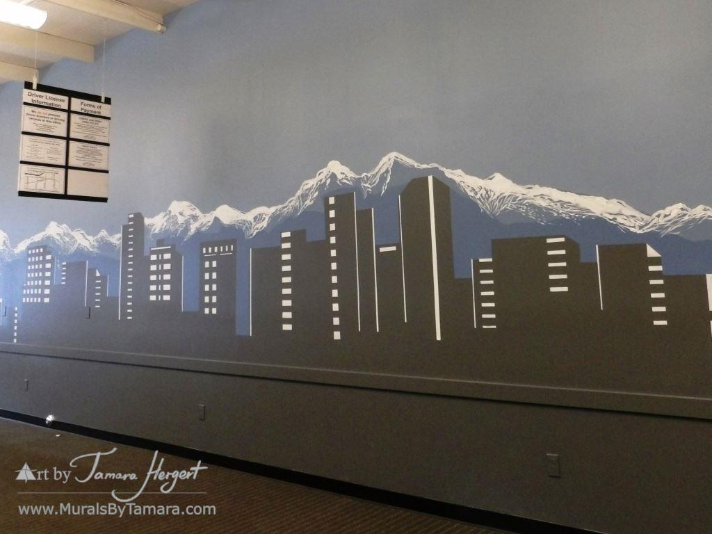 Bellevue skyline 2 - Bel-Red Auto license - mural by Tamara Hergert