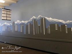 Bellevue skyline 2 - Bel-Red Auto license - mural by Tamara Hergert