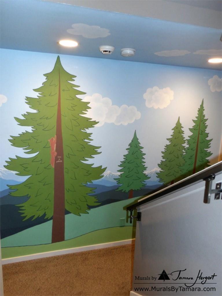 Cascade mountains mural by Tamara Hergert - front view