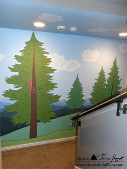 Cascade mountains mural by Tamara Hergert - front view