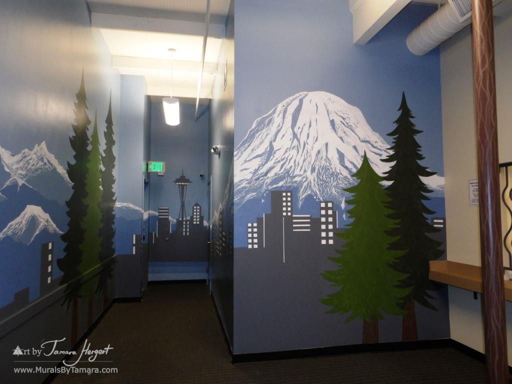 Seattle skyline - Mount Rainier 14 - Bel-Red Auto license - mural by Tamara Hergert