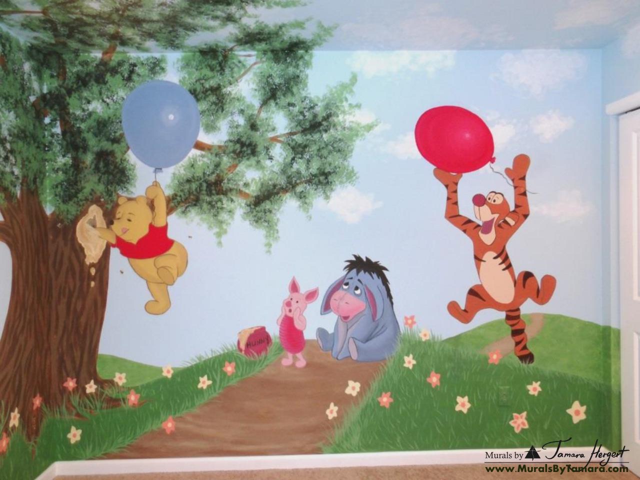 Winnie the Pooh mural Winnie, Piglet and Tigger full view - kids room mural by Tamara Hergert