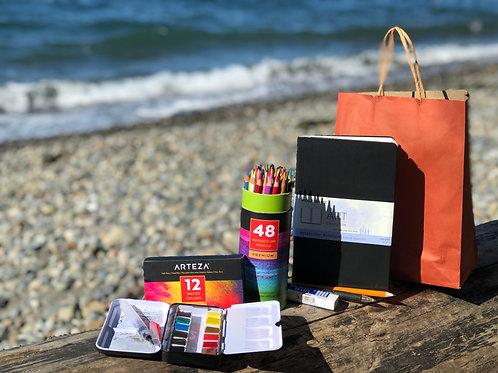 Eat, Pray, Love to Draw watercolor sketching class supply kit