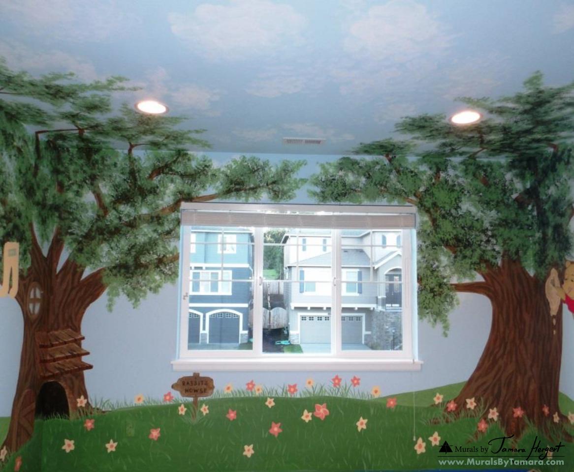 Winnie the Pooh mural front wall - kids room mural by Tamara Hergert
