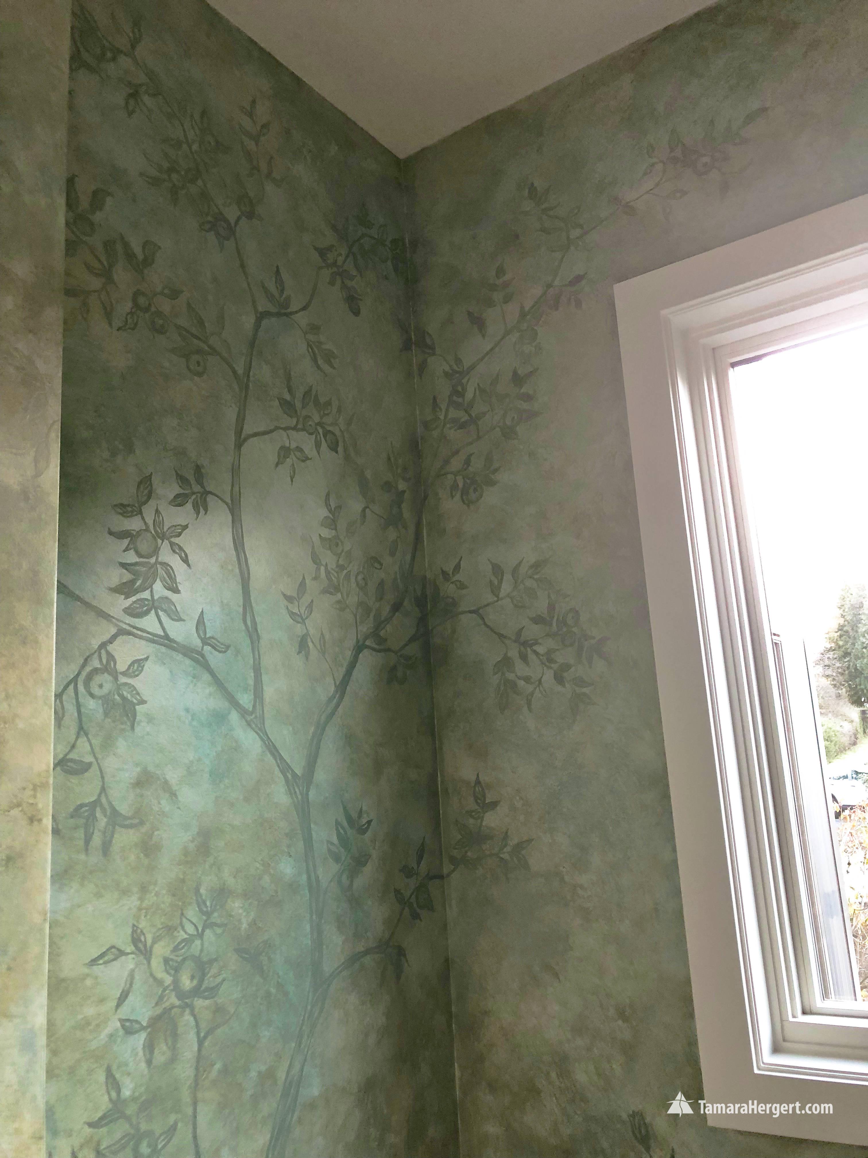 Subtle tones apple tree mural by Tamara