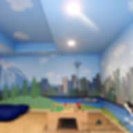 Space Needle Seattle skyline and citiscape Elliot bay, orca, ferry, trees - amazing kids playroom mural by Tamara Hergert - mural artist seattle