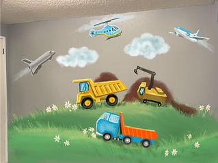 Boys room mural sketch by Tamara Hergert
