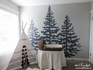Stencil looking fir (cedar) trees mural by Tamara Hergert - mural artist in Seattle