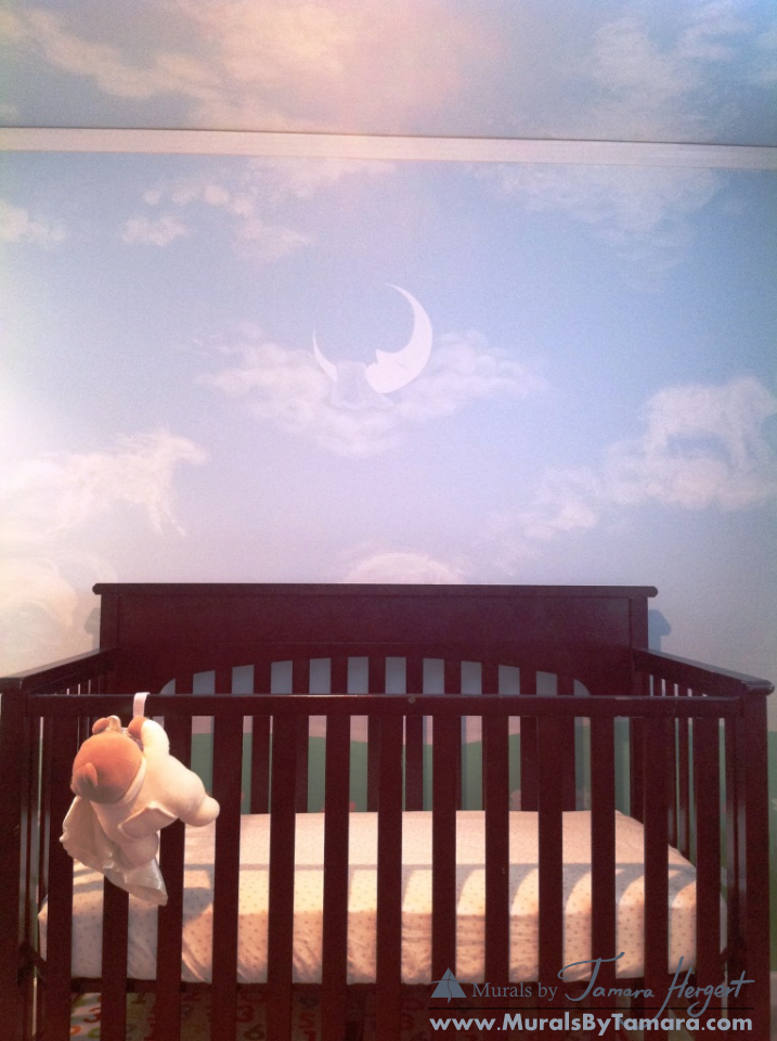 Clouds on the ceiling, tree, and geese - moon covered with blanket - kids room mural by Tamara Herge