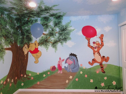 Winnie the Pooh mural right wall - kids room mural by Tamara Hergert