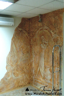 Ancient goddess on stucco and faux finish - by Tamara Hergert - Seattle mural artist