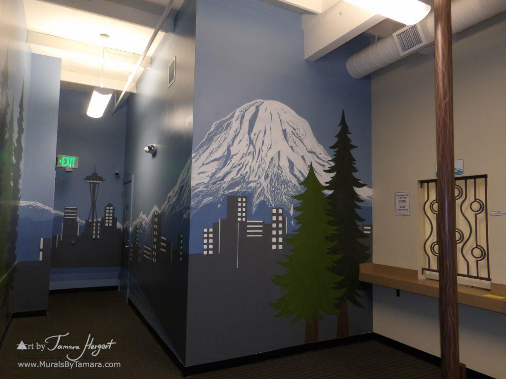 Seattle skyline - Mount Rainier 13 - Bel-Red Auto license - mural by Tamara Hergert