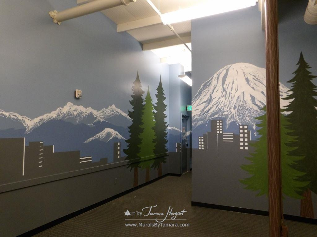 Seattle skyline 3 - Bel-Red Auto license - mural by Tamara Hergert