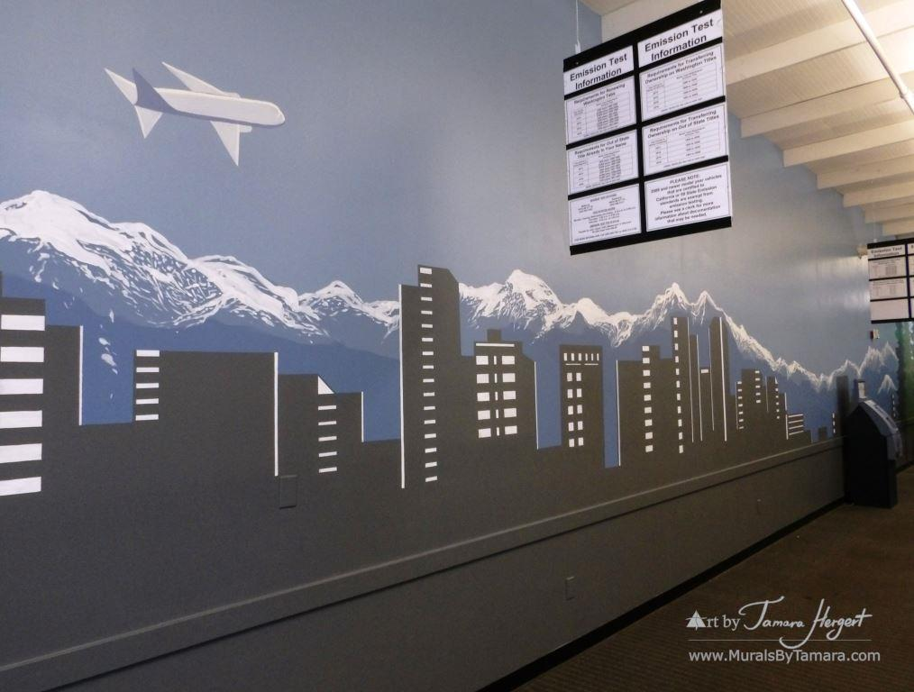 Bellevue skyline 5 - Bel-Red Auto license - mural by Tamara Hergert