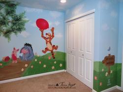 Winnie the Pooh mural back view - kids room mural by Tamara Hergert