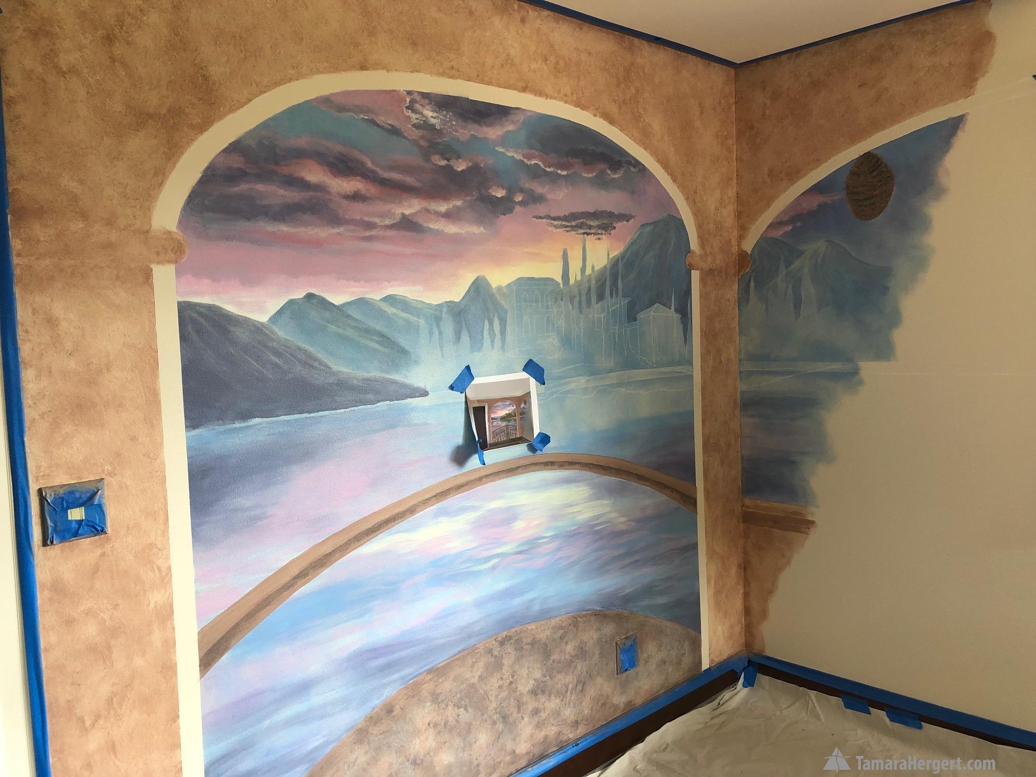 Italian villa mural by Tamara Hergert 10