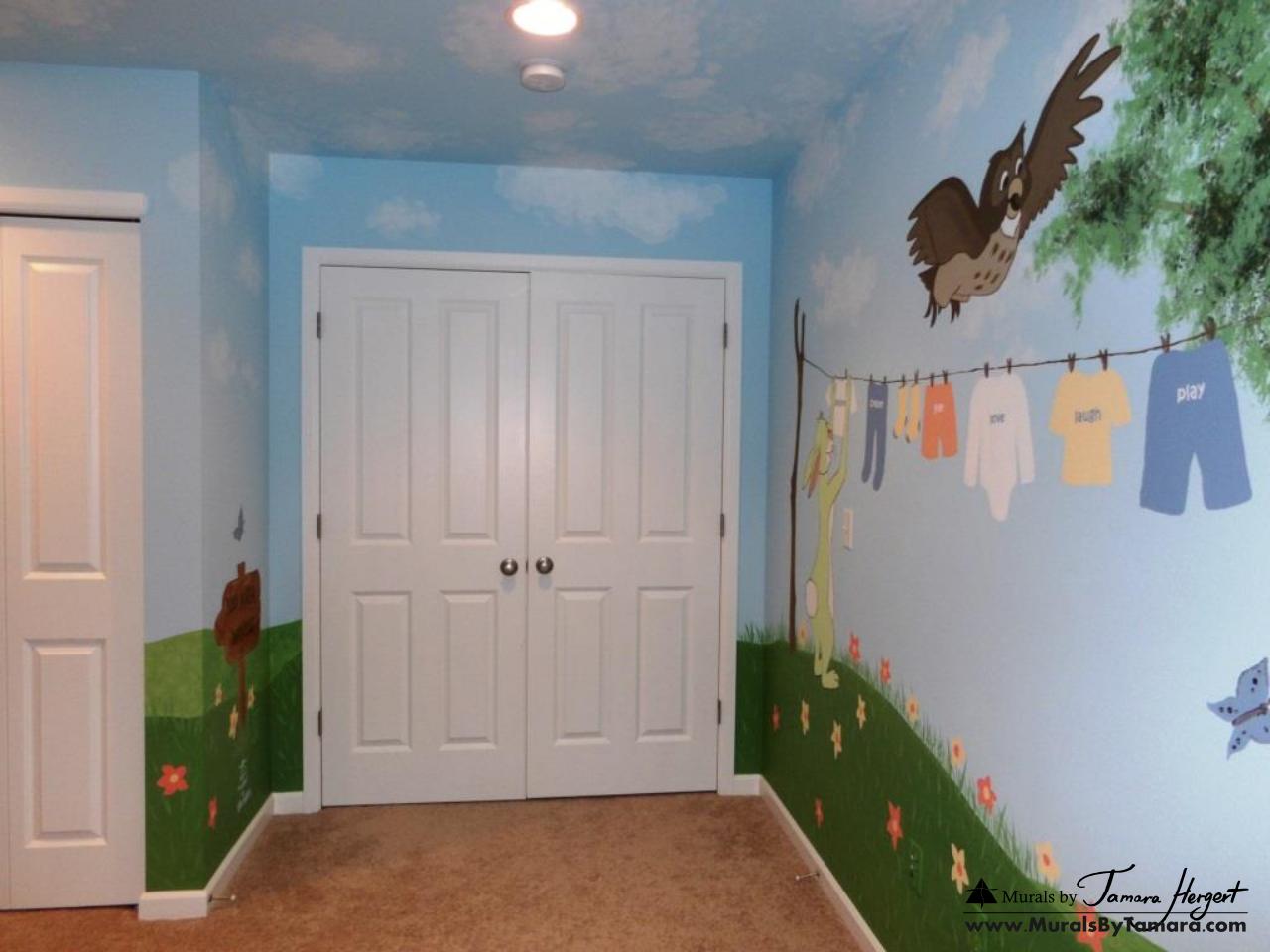 Winnie the Pooh mural back wall - kids room mural by Tamara Hergert