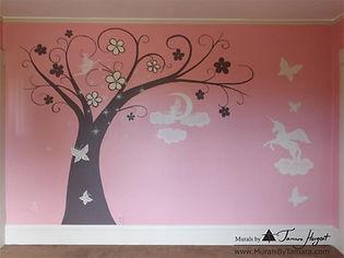 Girl's pink room with a tree, faires, butterflies and unicorn uraml by Tamara Hergert - mural artist seattle