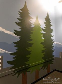 Seattle skyline - Evergreen trees 3 - Bel-Red Auto license - mural by Tamara Hergert