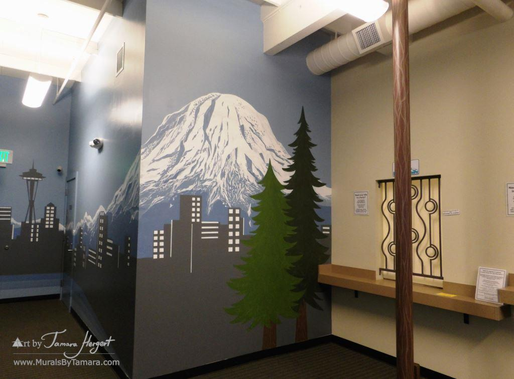 Seattle skyline - Mount Rainier 23 - Bel-Red Auto license - mural by Tamara Hergert
