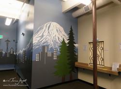 Seattle skyline - Mount Rainier 23 - Bel-Red Auto license - mural by Tamara Hergert