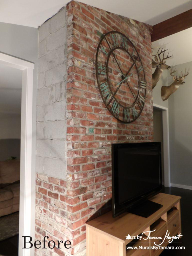 Before photo - Faux bricks mural by Tamara Hergert