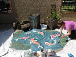 Koi pond mural by Tamara Hergert 7