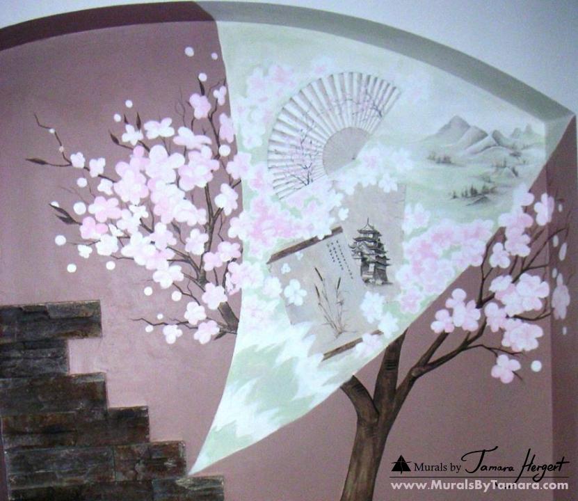 Japanese cherry blossoms mural by Tamara Hergert