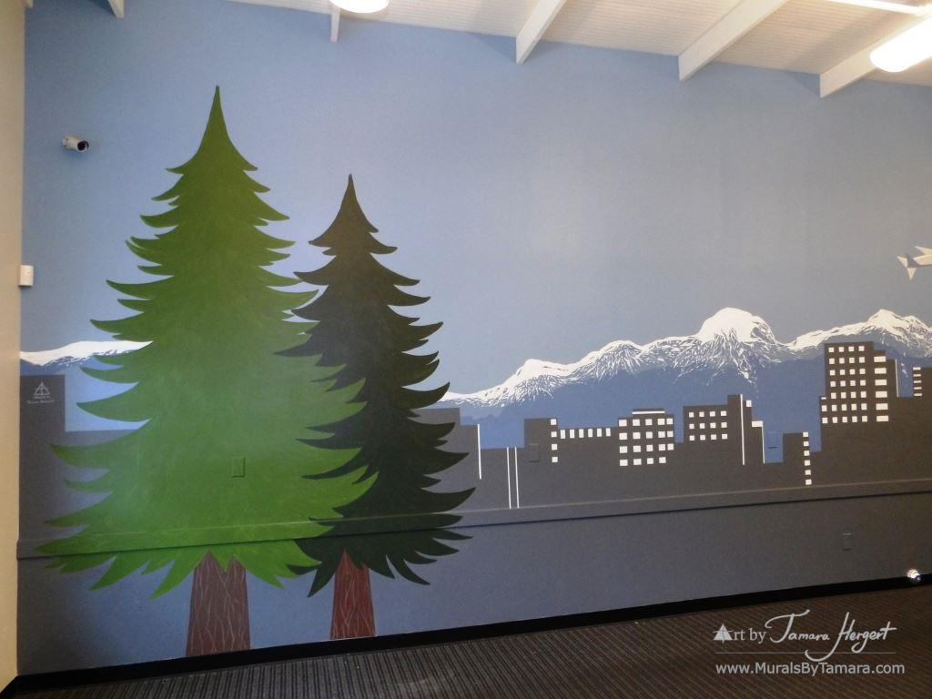Evergreen trees and Bellevue skyline 8- Bel-Red Auto license - mural by Tamara Hergert