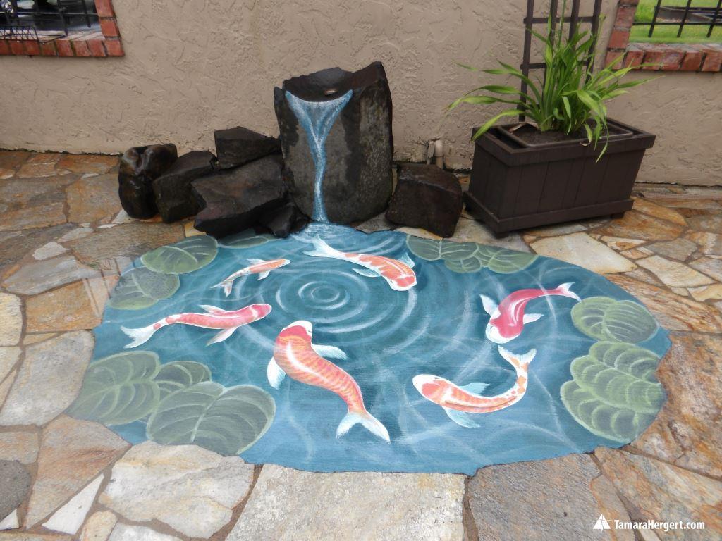 Koi pond mural by Tamara Hergert 1