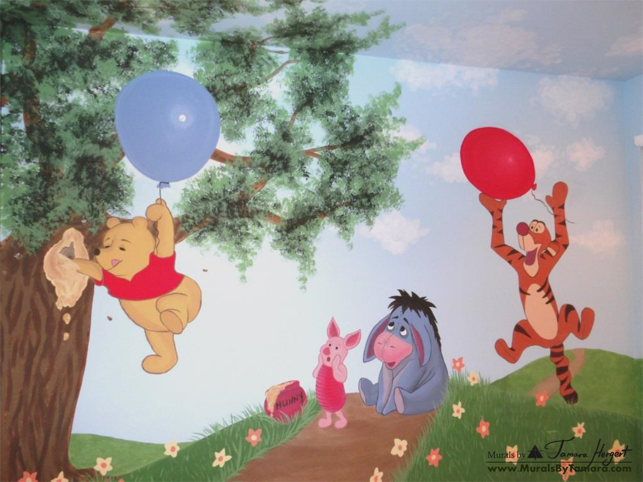 Winnie the Pooh mural Winnie, Piglet and Tigger - kids room mural by Tamara Hergert