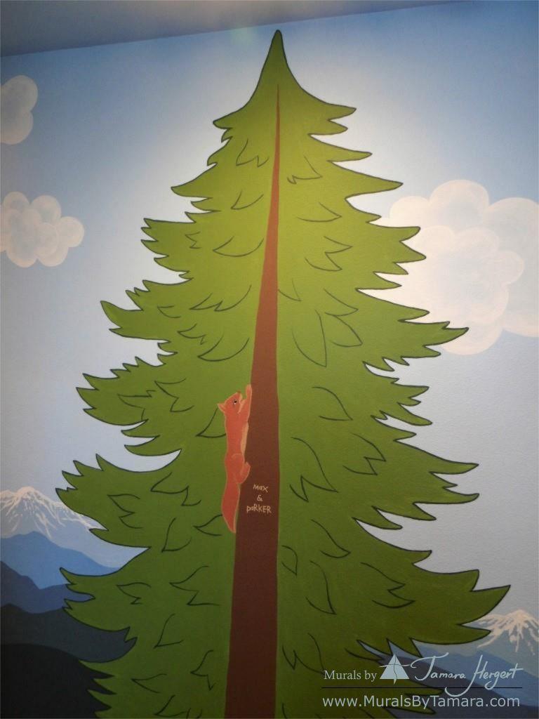 Cascade mountains - mural by Tamara Hergert - close up view